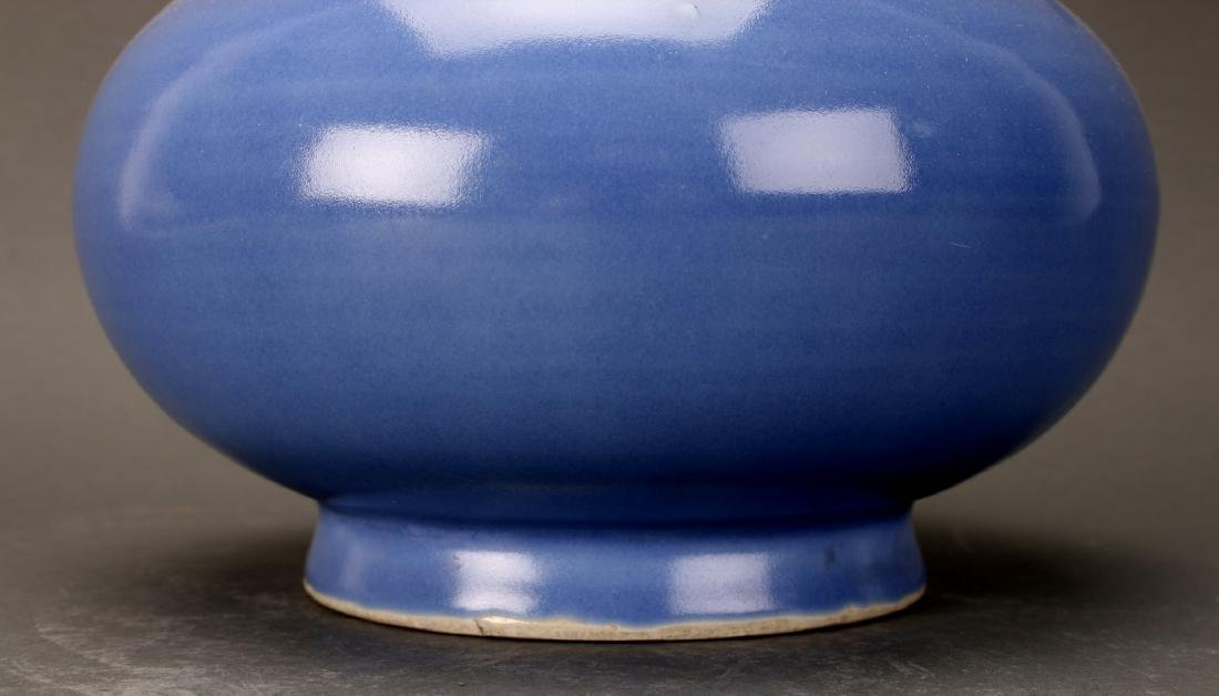 CHINESE QING DYNASTY MARKED BLUE GLAZED VASE - 2