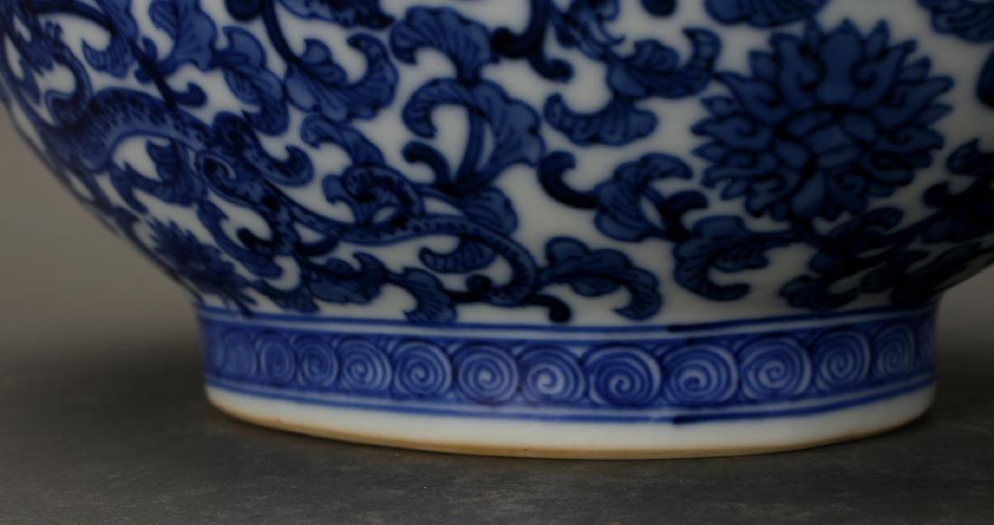 CHINESE QIAN LONG BLUE & WHITE MOON FLASK - 3