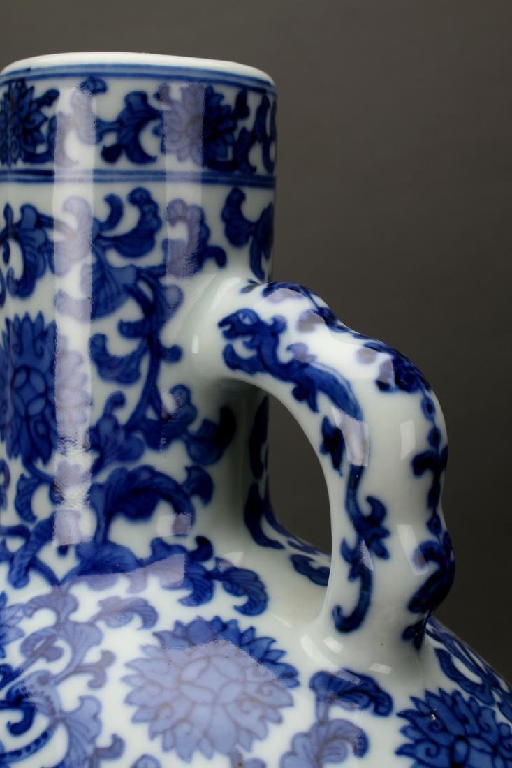 CHINESE QIAN LONG BLUE & WHITE MOON FLASK - 5
