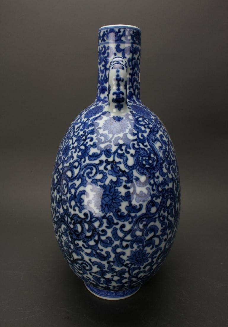 CHINESE QIAN LONG BLUE & WHITE MOON FLASK - 6