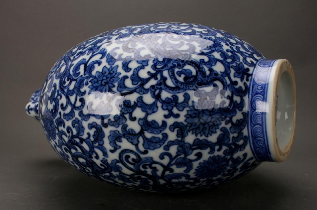 CHINESE QIAN LONG BLUE & WHITE MOON FLASK - 7