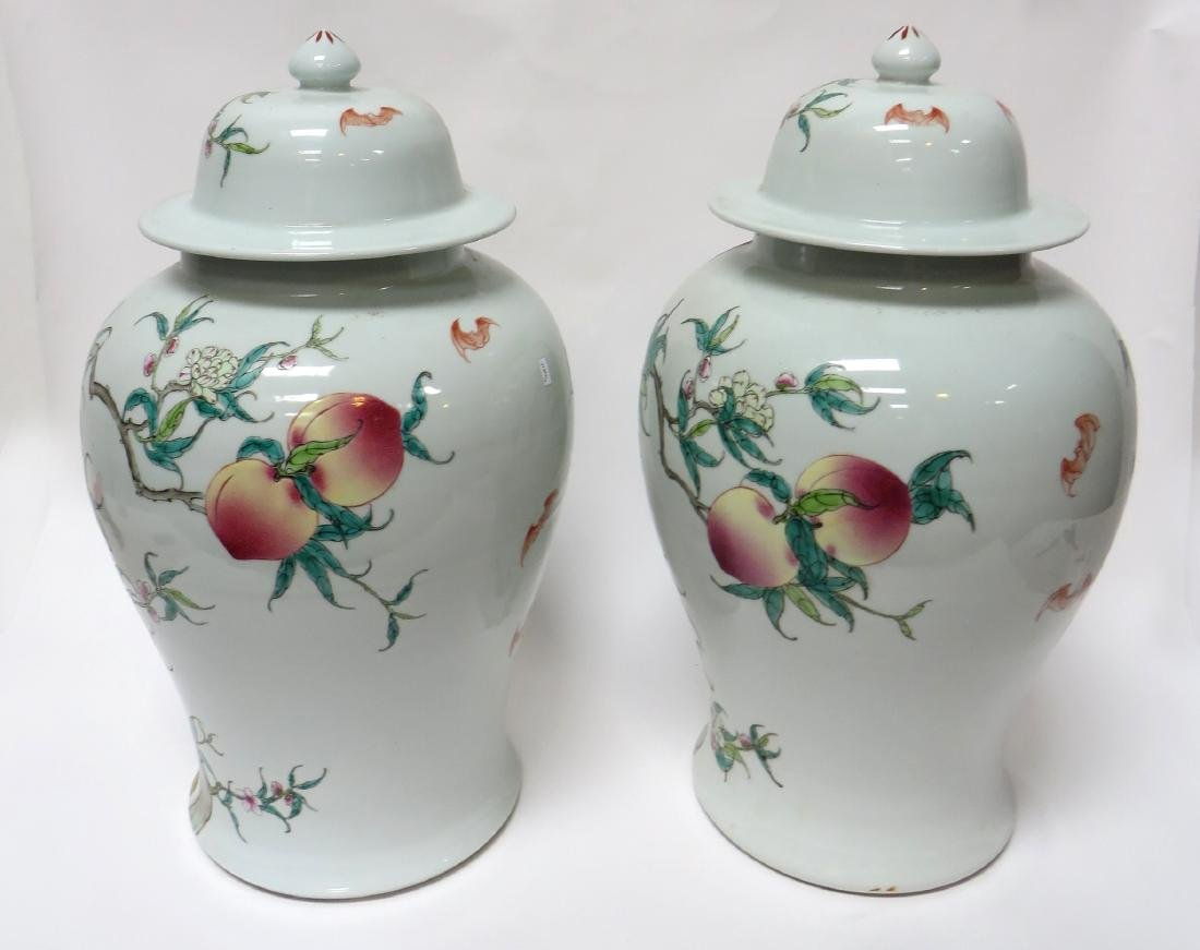 PAIR OF CHINESE PEACHES & BATS LIDDED JARS - 3