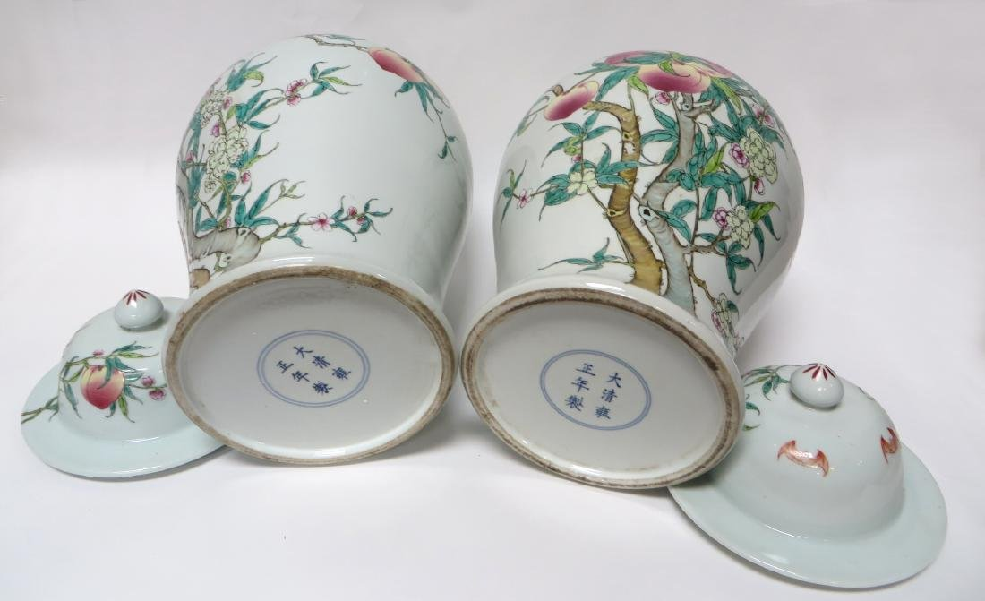 PAIR OF CHINESE PEACHES & BATS LIDDED JARS - 4