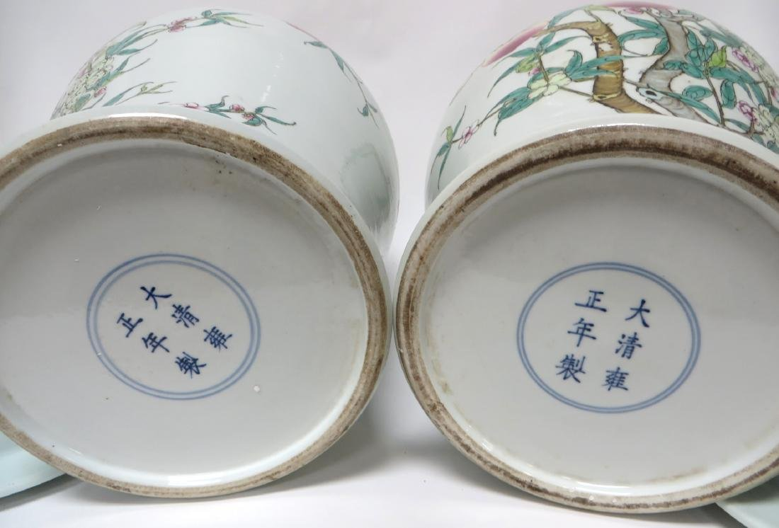 PAIR OF CHINESE PEACHES & BATS LIDDED JARS - 5