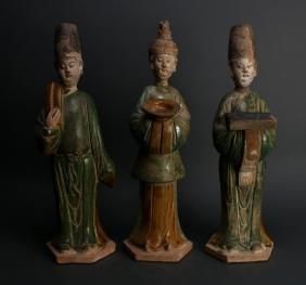 THREE TANG TERRA COTTA MEN