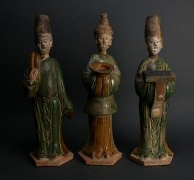 THREE TANG TERRA COTTA MEN