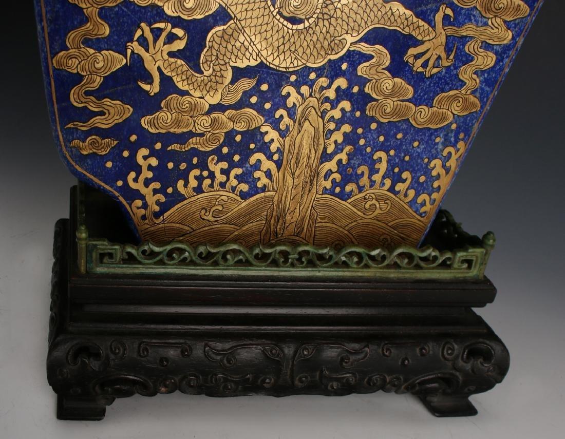 CHINESE GOLD DRAGONS ON LAPIS LAZULI STONE - 10