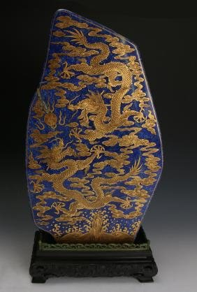 CHINESE GOLD DRAGONS ON LAPIS LAZULI STONE
