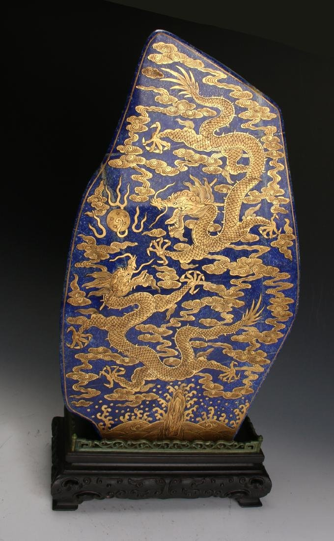 CHINESE GOLD DRAGONS ON LAPIS LAZULI STONE - 2