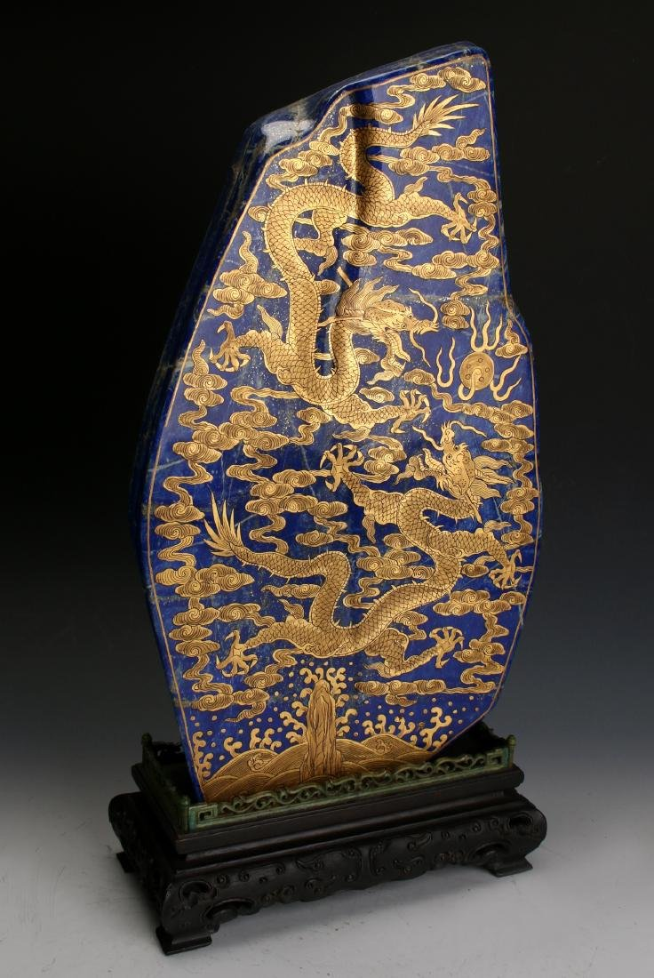CHINESE GOLD DRAGONS ON LAPIS LAZULI STONE - 3