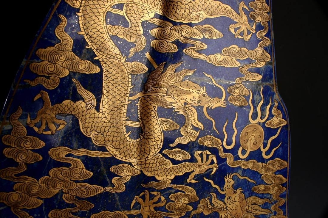 CHINESE GOLD DRAGONS ON LAPIS LAZULI STONE - 4