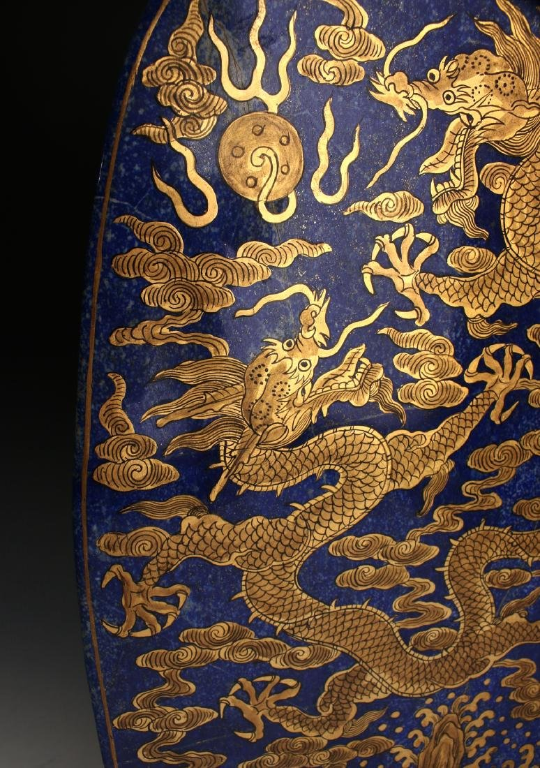 CHINESE GOLD DRAGONS ON LAPIS LAZULI STONE - 6