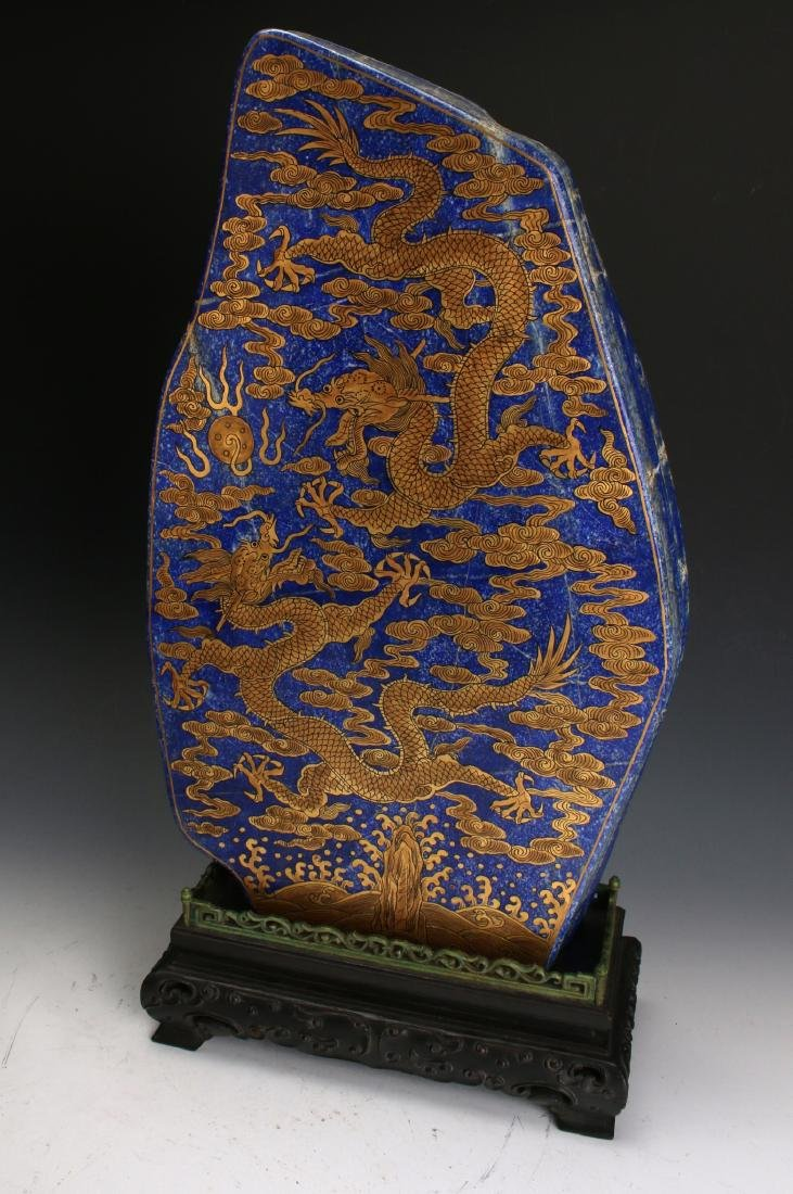 CHINESE GOLD DRAGONS ON LAPIS LAZULI STONE - 8