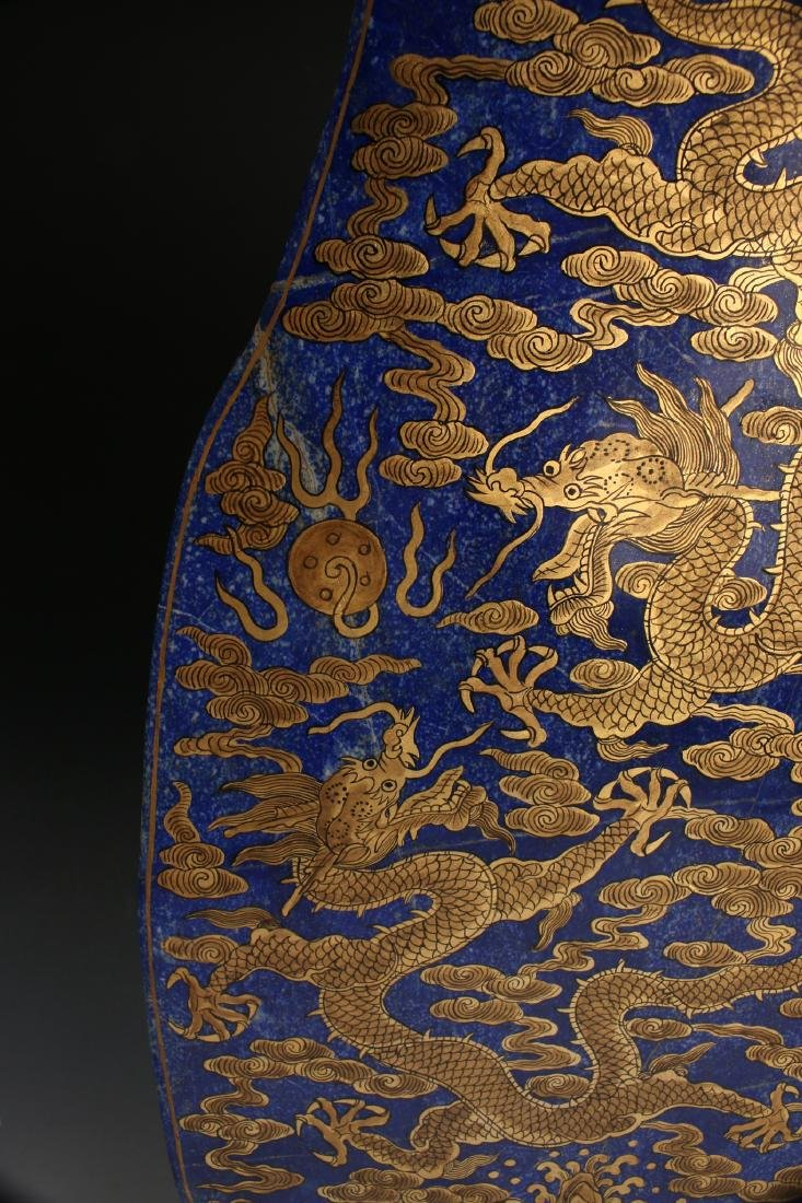 CHINESE GOLD DRAGONS ON LAPIS LAZULI STONE - 9