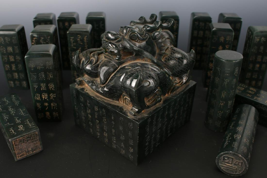 CHINESE QING DYNASTY JADE SEALS IN A BOX - 5
