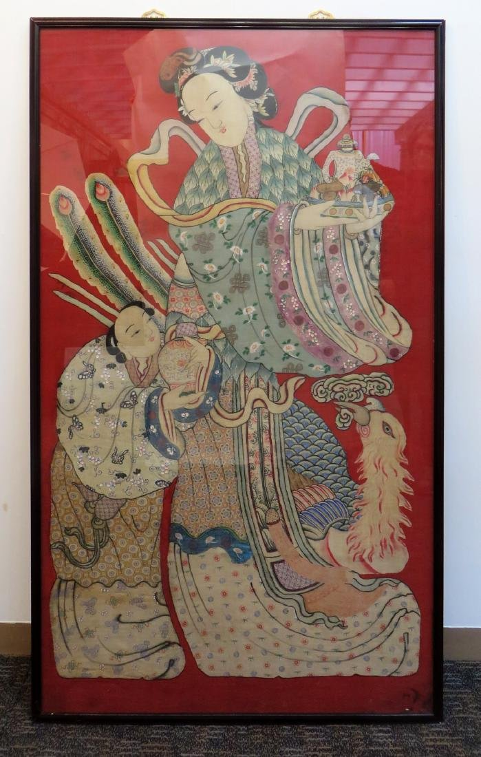 LARGE CHINESE KESI WALL HANGING EMBROIDERY