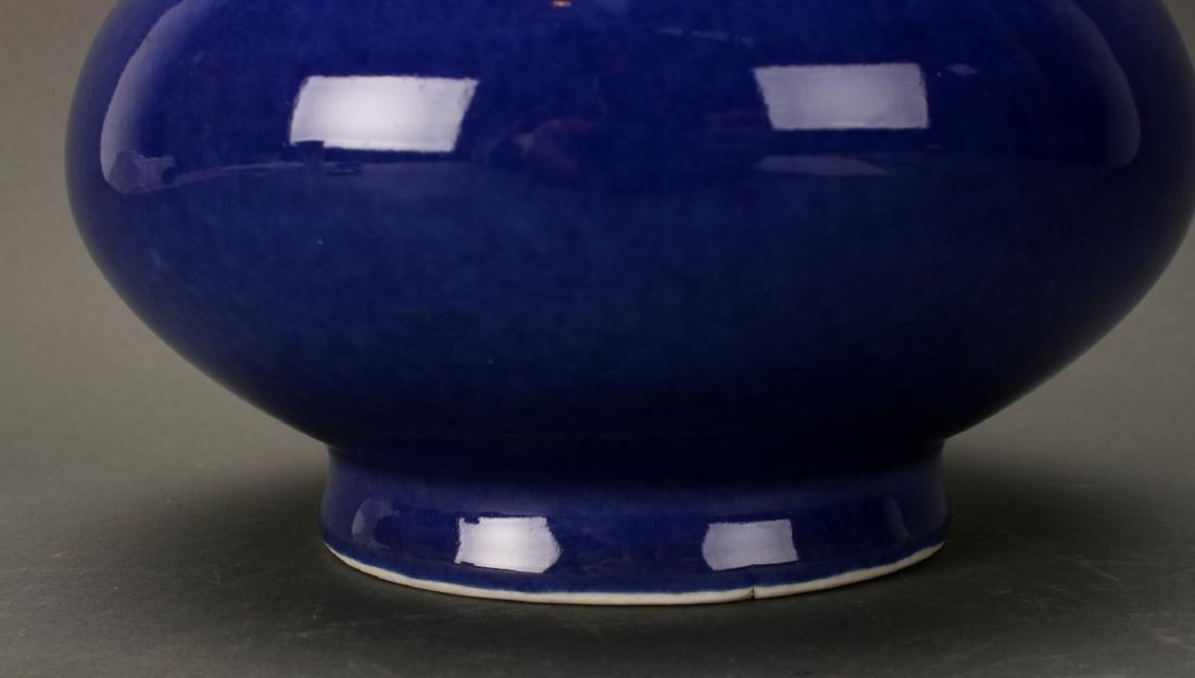 CHINESE QIAN LONG MARKED BLUE GLAZED VASE - 2