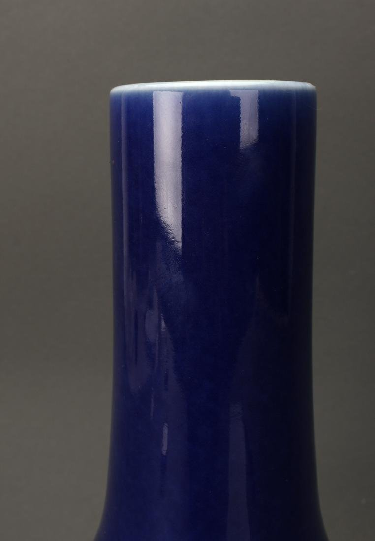 CHINESE QIAN LONG MARKED BLUE GLAZED VASE - 3