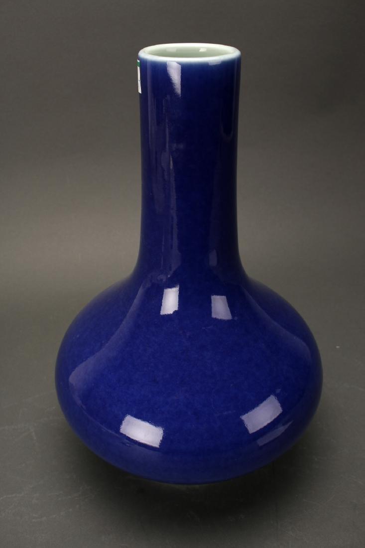 CHINESE QIAN LONG MARKED BLUE GLAZED VASE - 5