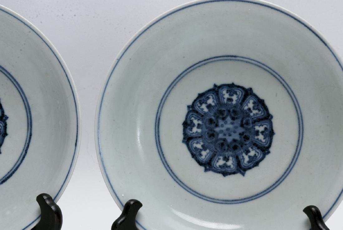 TWO BLUE AND WHITE LOW BOWLS - 2