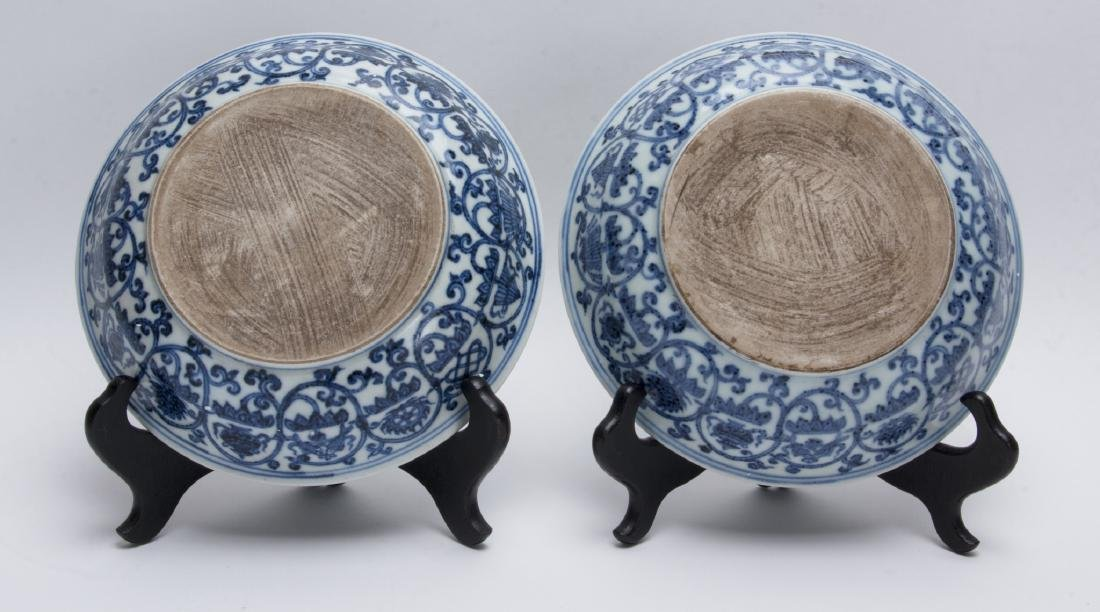 TWO BLUE AND WHITE LOW BOWLS - 3