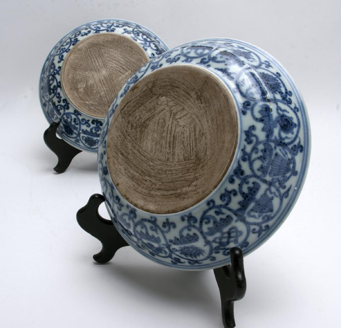 TWO BLUE AND WHITE LOW BOWLS - 4