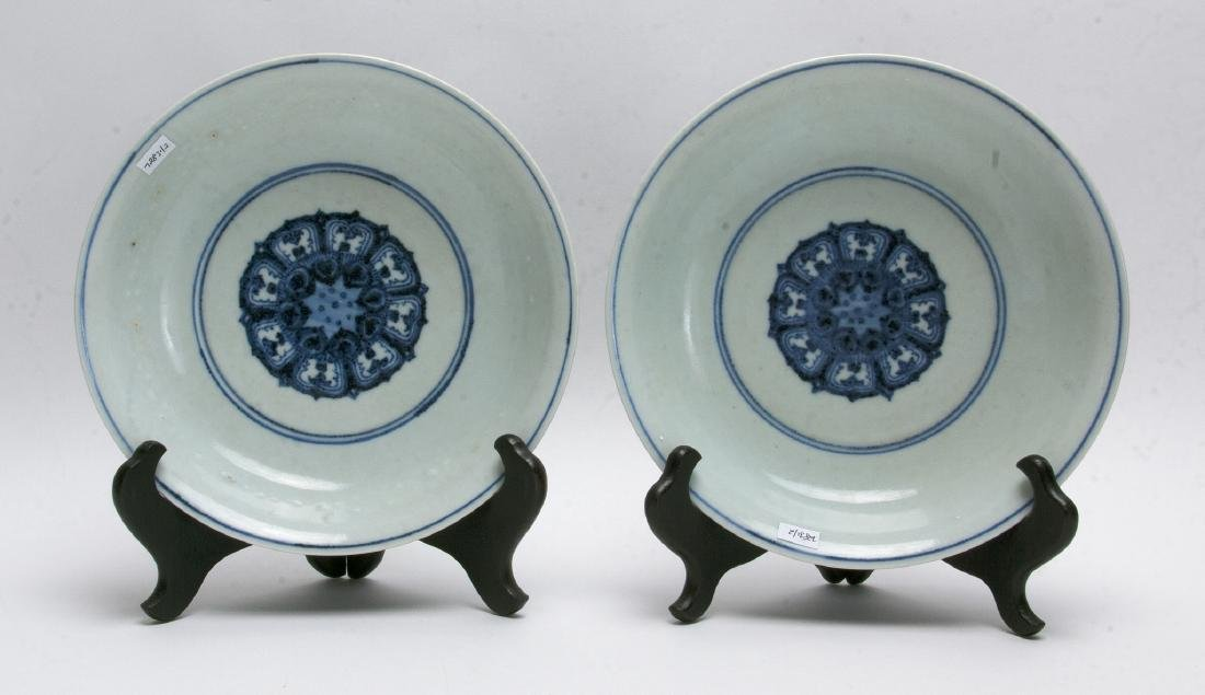 TWO BLUE AND WHITE LOW BOWLS - 5