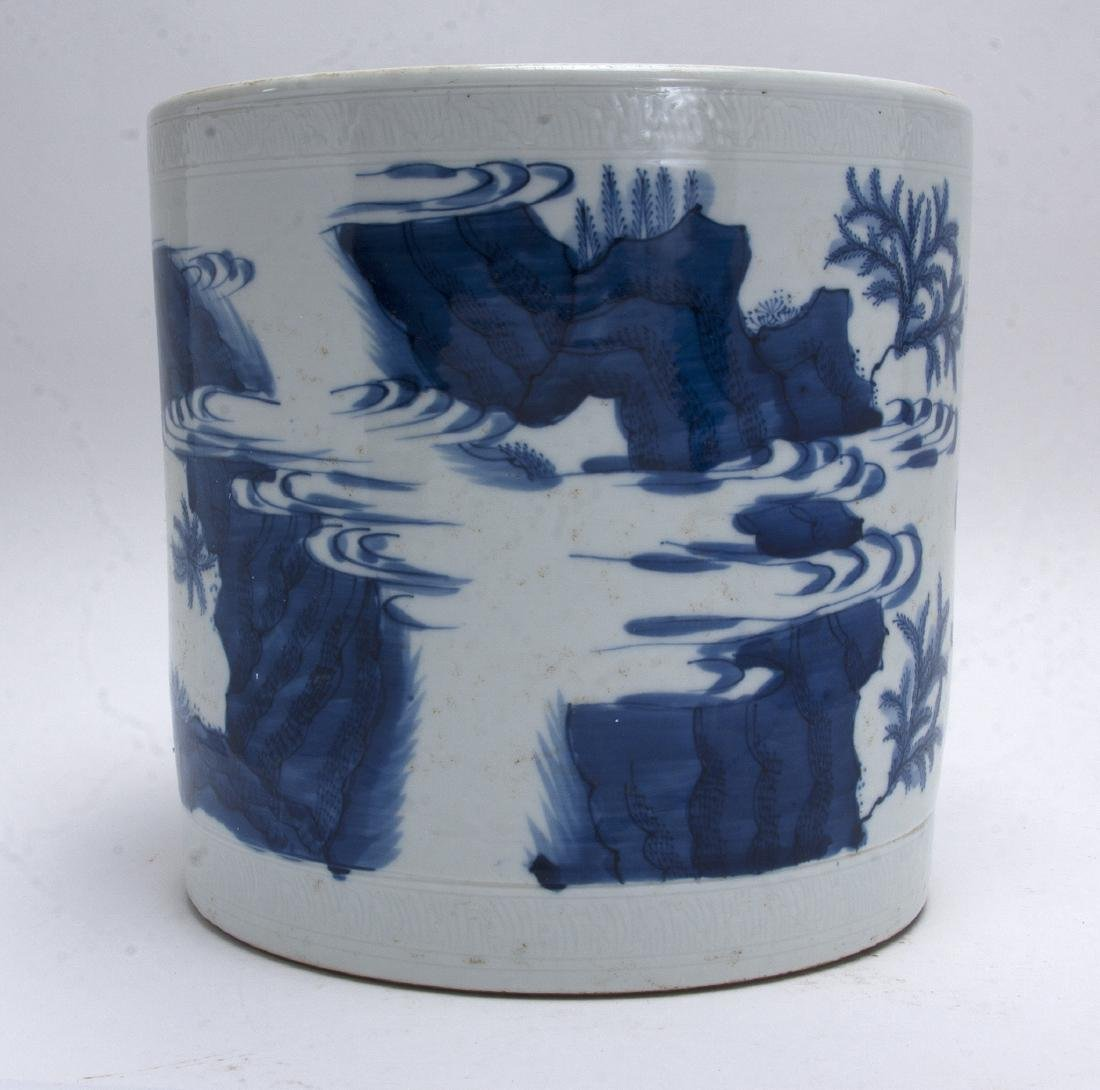 LARGE BLUE AND WHITE BRUSH POT - 3