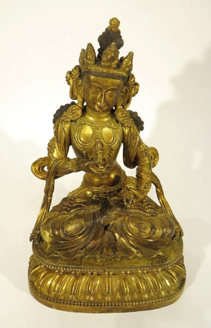 CHINESE MING DYNASTY GILT BRONZE BUDDHA - 6