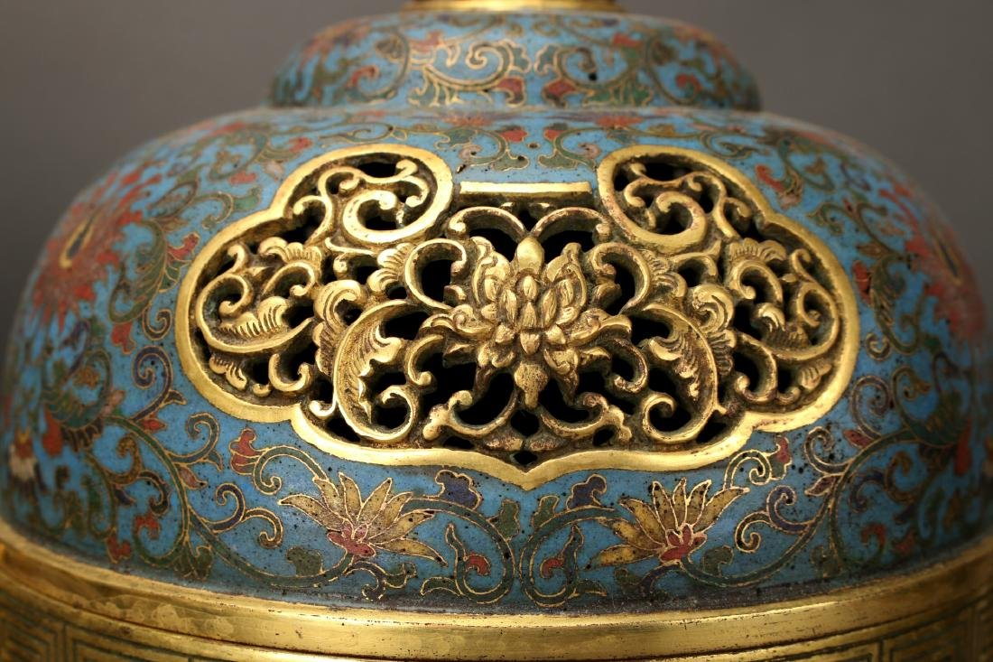 PAIR OF MONUMENTAL CHINESE CLOISONNE CENSERS - 4