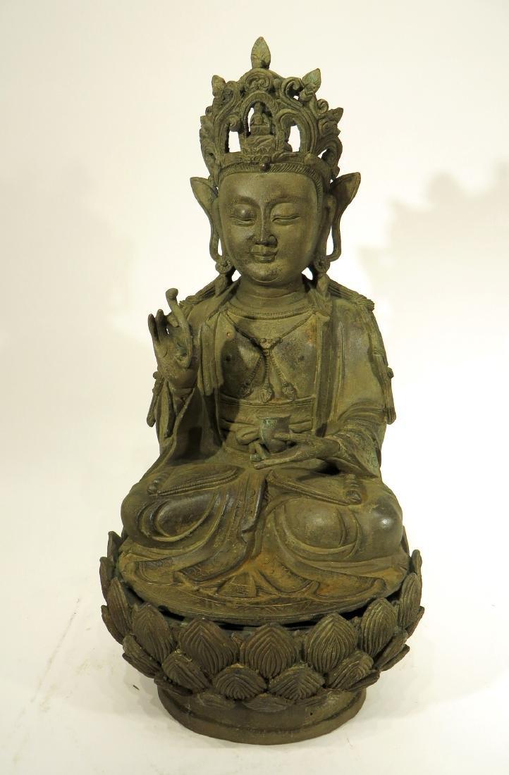 CHINESE MING DYNASTY BRONZE BUDDHA - 2