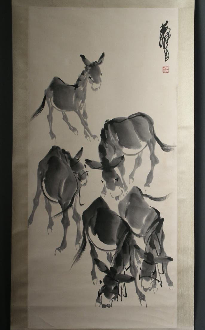 SCROLL OF FIVE GRAY DONKEYS