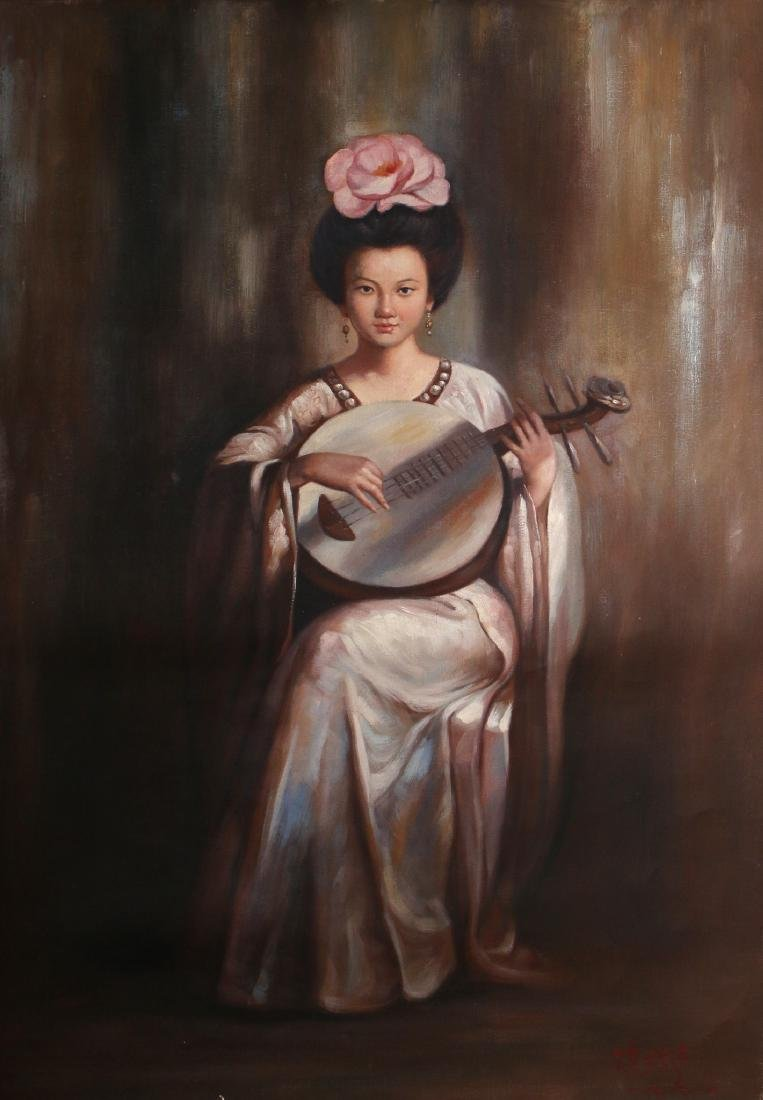 CANVAS OF WOMAN PLAYING INSTRUMENT