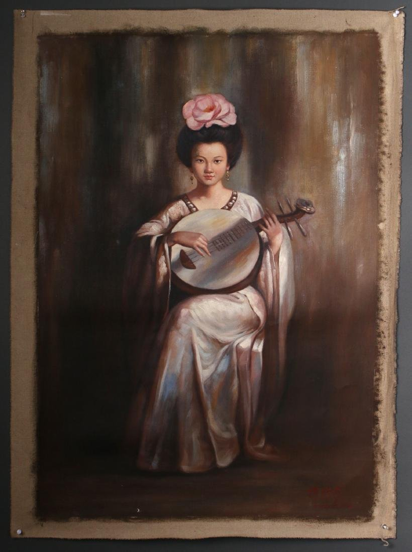 CANVAS OF WOMAN PLAYING INSTRUMENT - 2