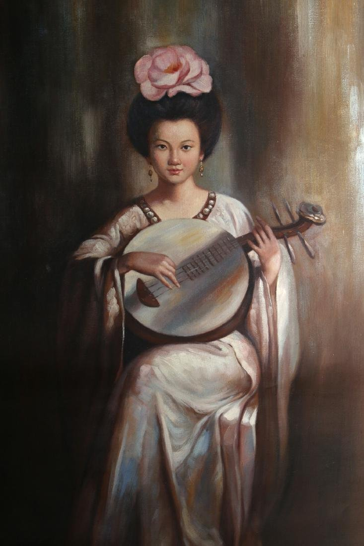 CANVAS OF WOMAN PLAYING INSTRUMENT - 3