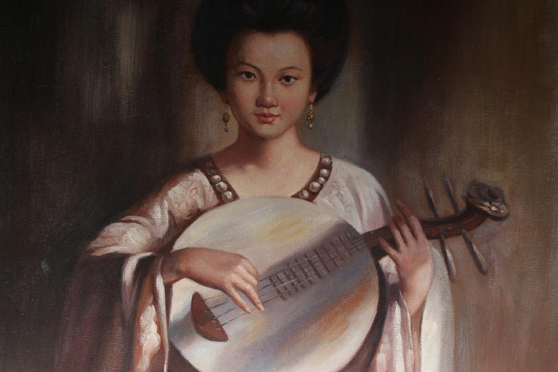 CANVAS OF WOMAN PLAYING INSTRUMENT - 5