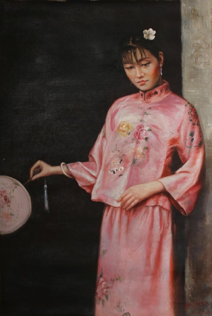 CANVAS OF WOMAN IN PINK WITH FAN