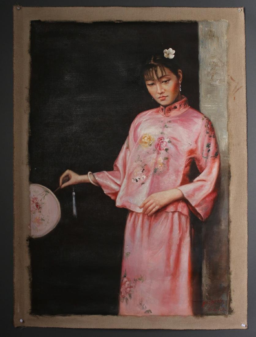 CANVAS OF WOMAN IN PINK WITH FAN - 2
