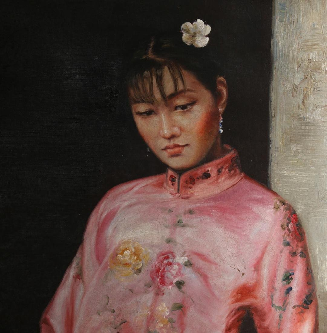 CANVAS OF WOMAN IN PINK WITH FAN - 3