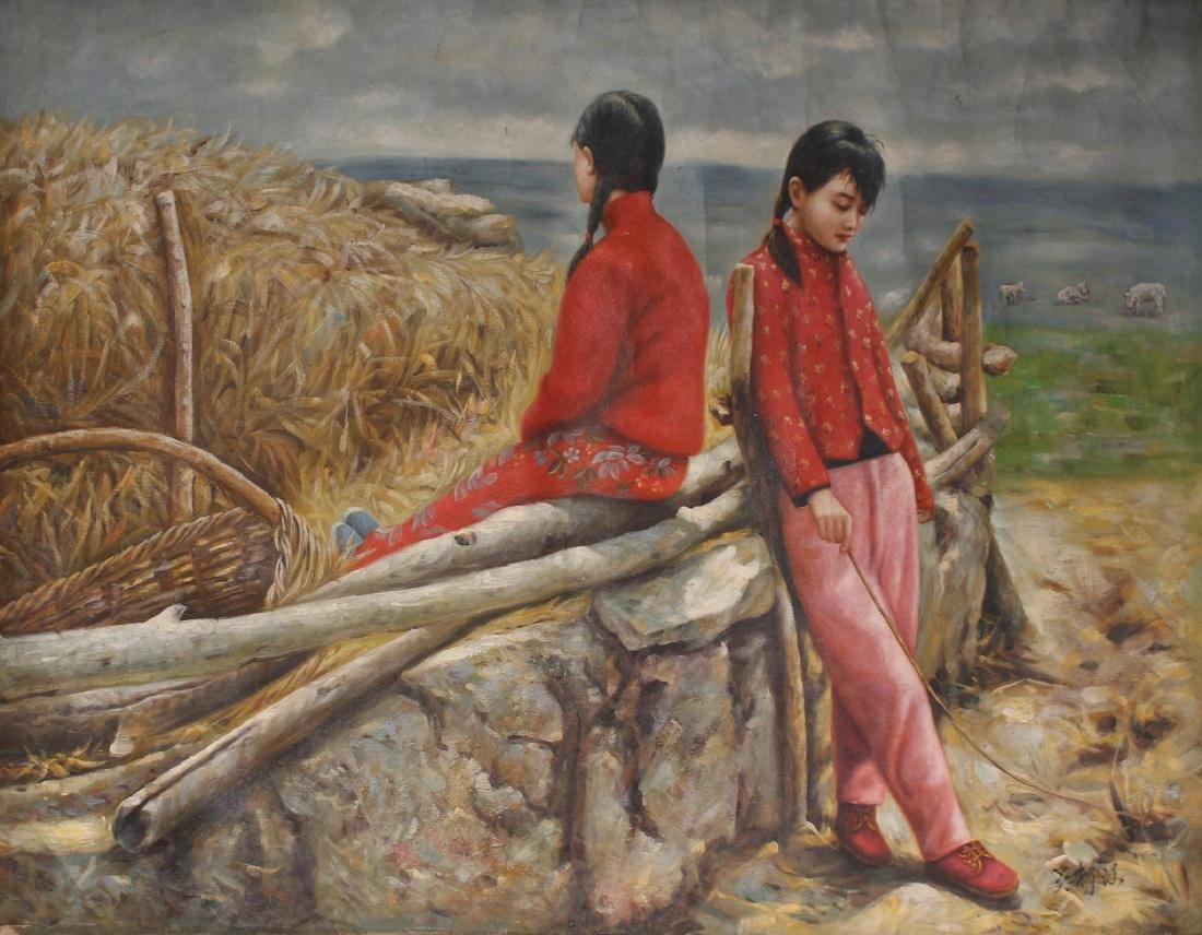 CANVAS OF WOMEN RESTING ON A FARM