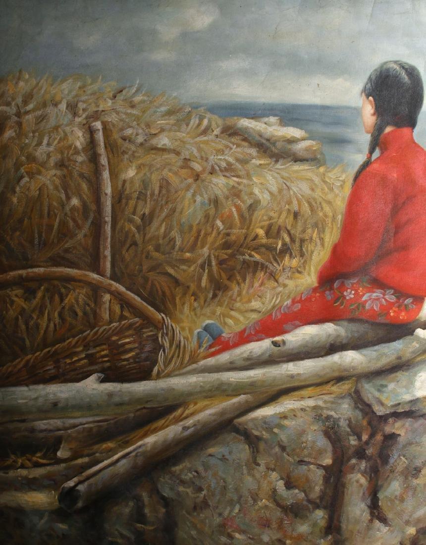 CANVAS OF WOMEN RESTING ON A FARM - 4