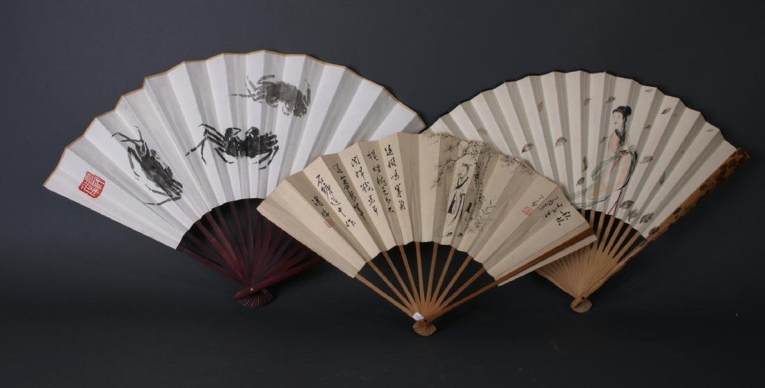 THREE CHINESE WATERCOLOR FANS