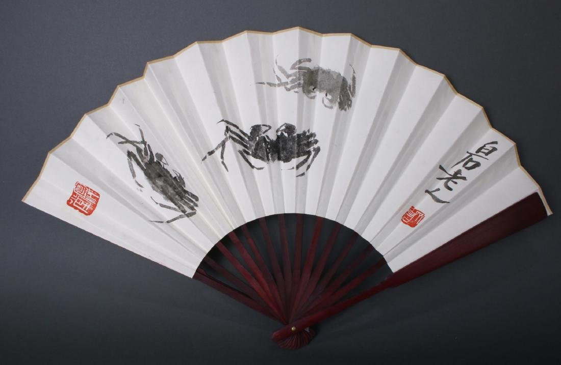 THREE CHINESE WATERCOLOR FANS - 4