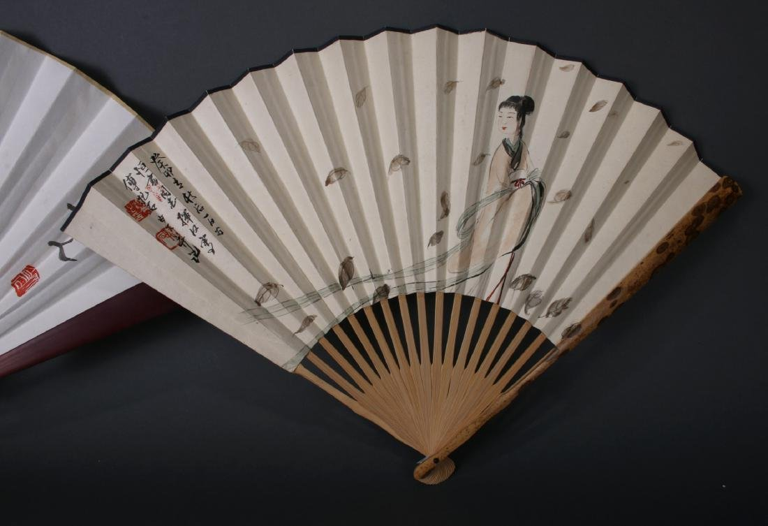 THREE CHINESE WATERCOLOR FANS - 5
