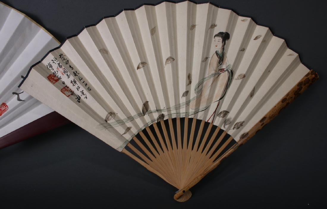 THREE CHINESE WATERCOLOR FANS - 6