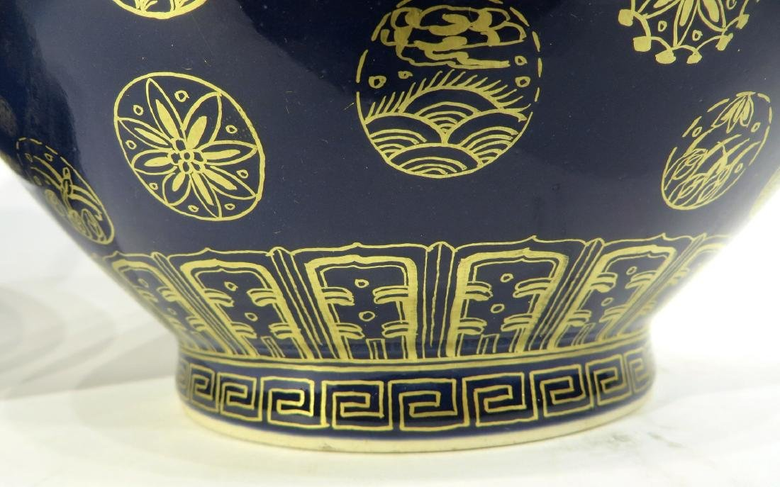 PAIR OF GUANG XU MARKED GILT PORCELAIN VASES - 5