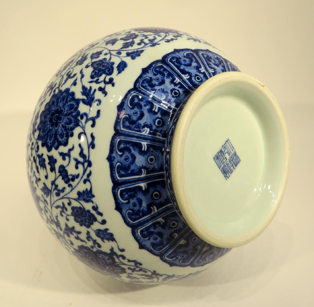 QIAN LONG MARKED BLUE AND WHITE PORCELAIN VASE - 5