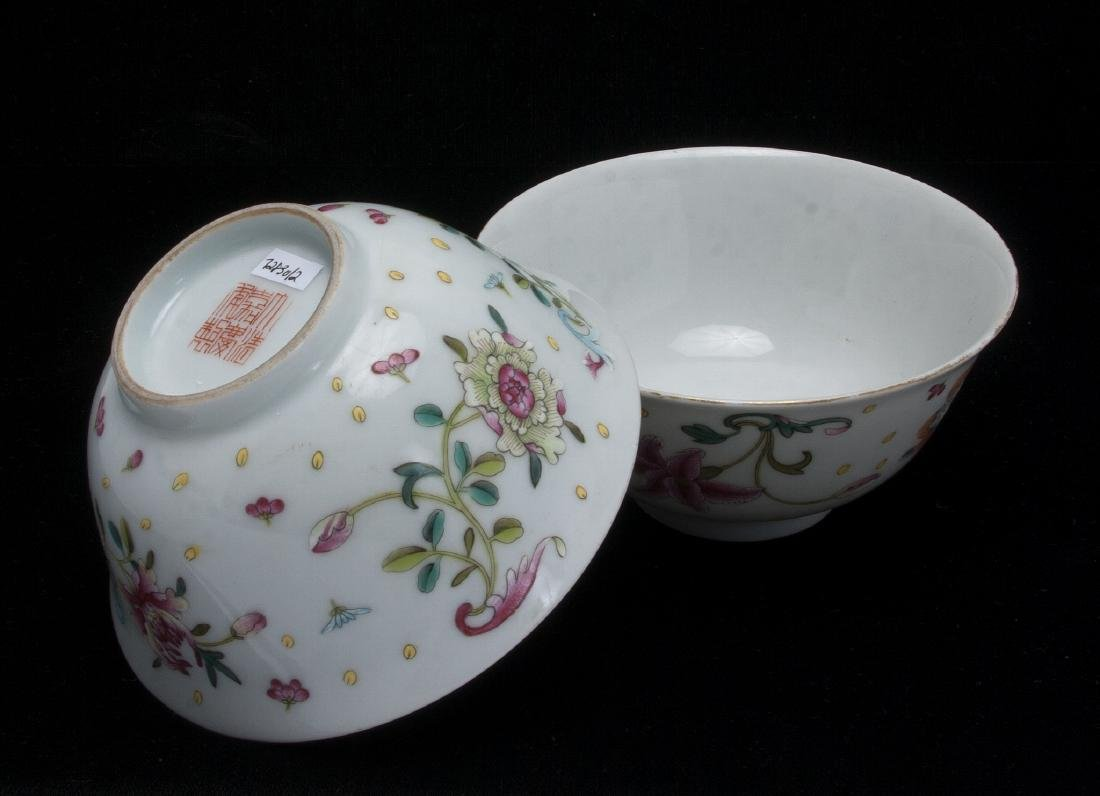 TWO PORCELAIN FLOWERED BOWLS - 7