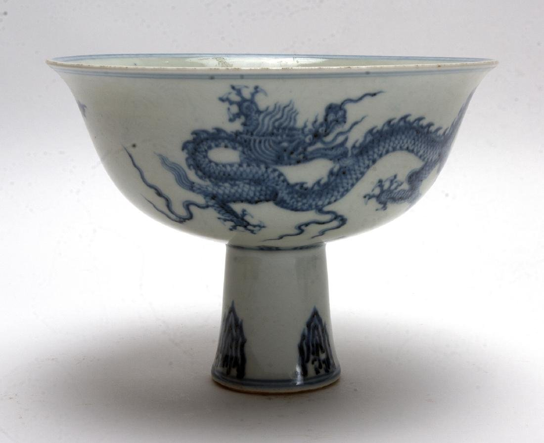 BLUE AND WHITE HIGH HEELED BOWL