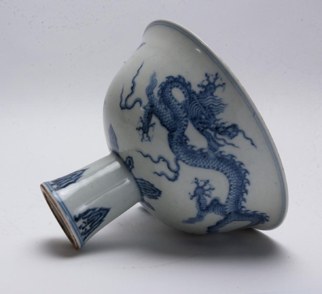 BLUE AND WHITE HIGH HEELED BOWL - 2